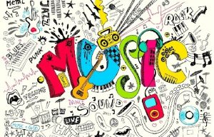 music with cartoon instruments surrounding it