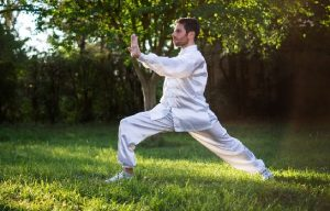 man doing Tai Chi in grass