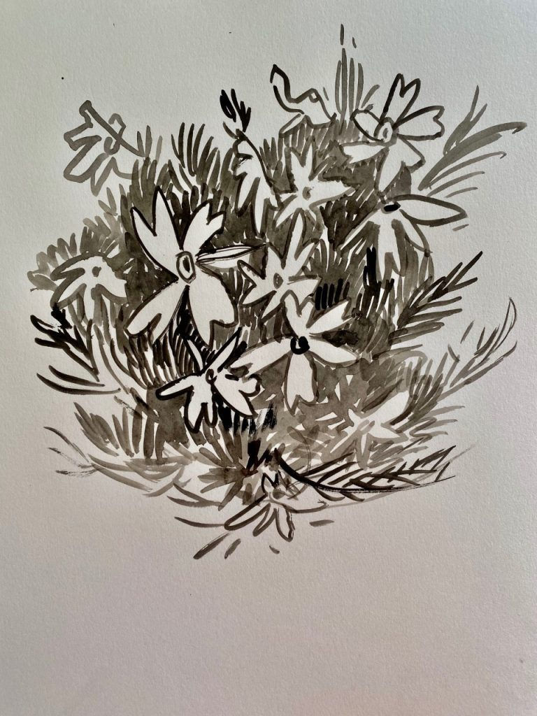 Flowers Black and White Gouache - Patti Gural