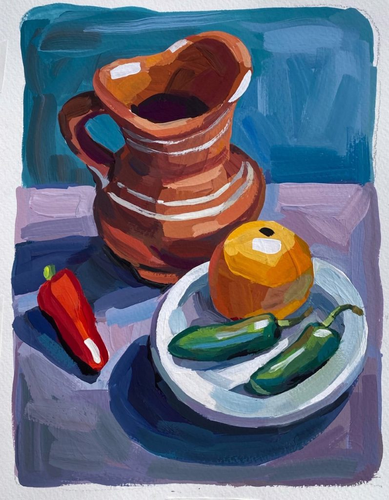 Painted Pitcher and Peppers - Patti Gural