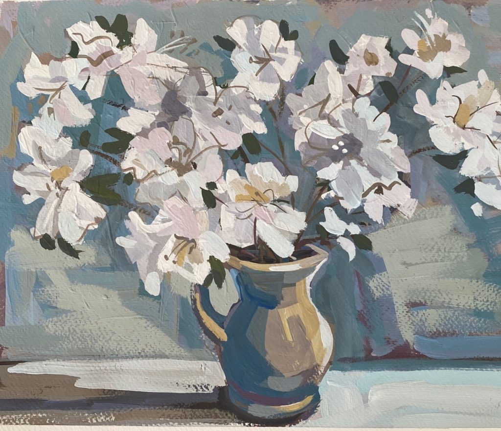 Vase With Flowers Grey and Blue Teals - Patti Gural