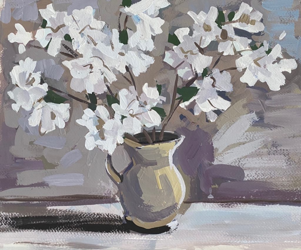 Vase With Flowers Greys and Purples - Patti Gural